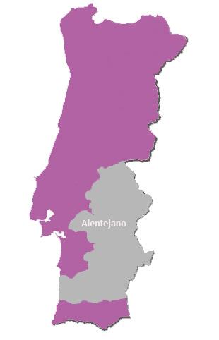 Carte vignoble Alentejano Portugal